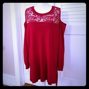Sweaters - Beautiful Red Cold Shoulder Womans Swester
